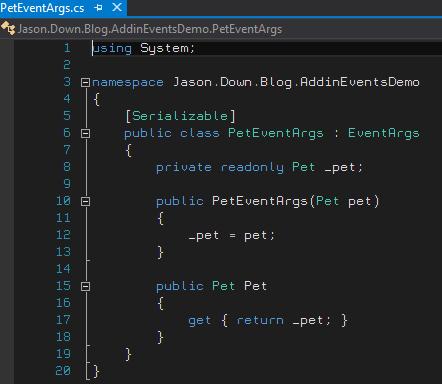PetEventArgs Class in C#