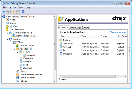 Citrix Delivery Services Console Applications