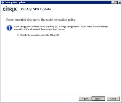 XA6 SDK Execution Policy