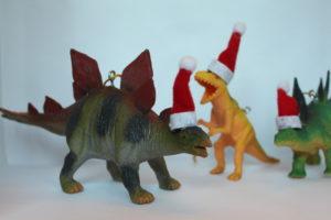 2 Dinosaur ornaments together