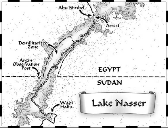 Map showing Lake Nasser route of Expedition 360