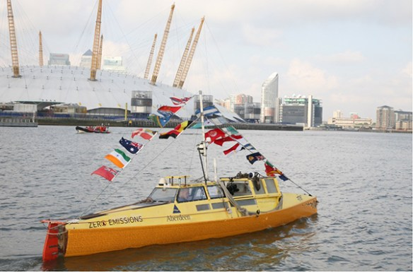 Pedal boat Moksha on River Thames at the completion of Expedition 360