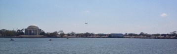 Plane Coming Into National Airport Over The Tidal Basin