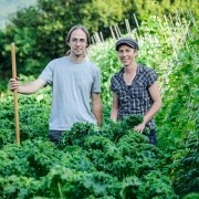 Real Seed Catalogue - Ben & Kate amongst 'East Friesian Palm' Kale
