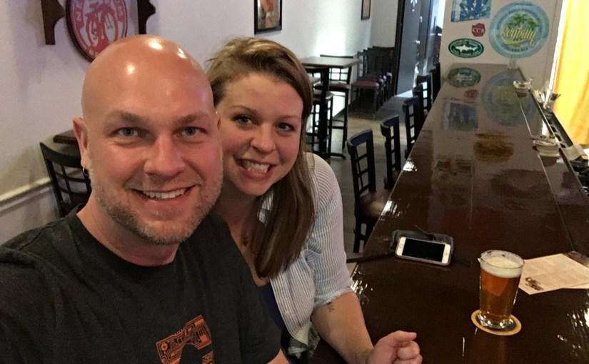 Photo of Corrie and I in Fort Lauderdale FL enjoying BBQ and brew.