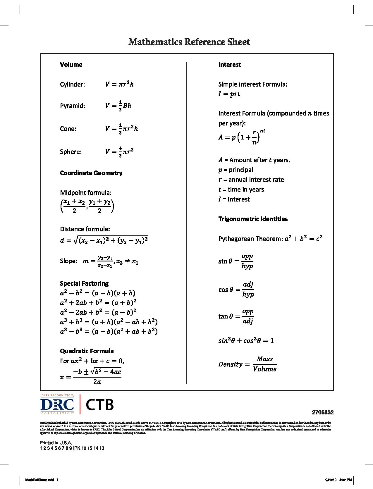 Ged Mathematics Formula Sheet