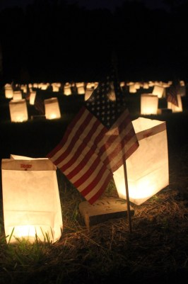 Close-up of the luminaria at Fredericksburg National Cemetery.