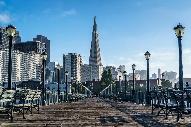 Transamerica Pyramid Looms above Pier 7 on the Embarcadero in San Francisco