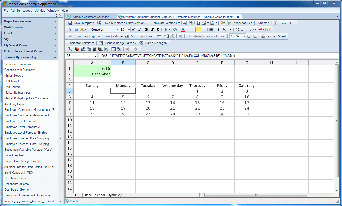 Dynamic Calendar With Comments In Dodeca Jason S Hyperion Blog