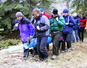 Learning wilderness first aid in the Canadian Rockies.