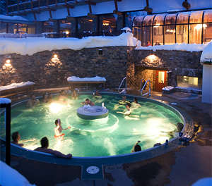 The outdoor hot tub at Sunshine Mountain Lodge, Sunshine Village, in the Canadian Rockies Banff National Park.