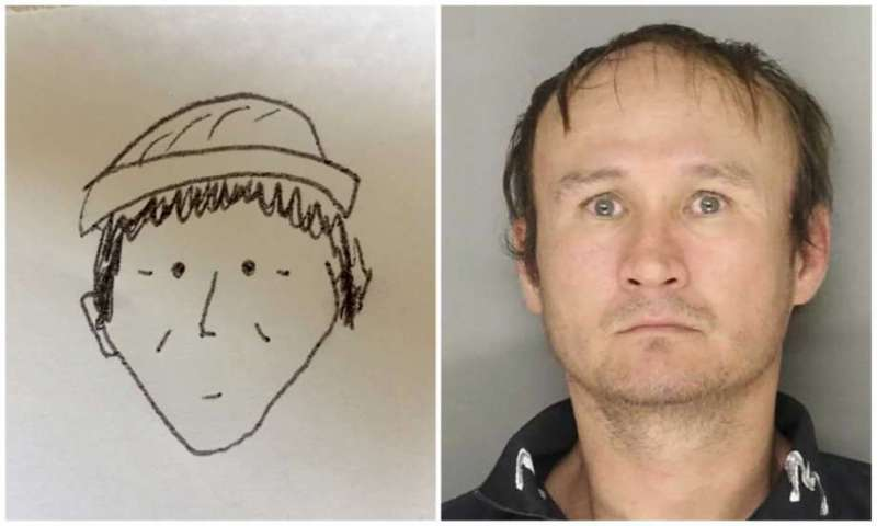 This combination of photos provided by the Lancaster City Bureau of Police in Lancaster, Pa., shows a 2018 sketch drawn by an unnamed witness, left, of a suspect in the Jan. 30, 2018, theft of an undisclosed amount of cash from a farmers market in Lancaster, Pa.; and a July 11, 2017, photo of Hung Phuoc Nguyen, right, identified by police as the suspect in the theft. The witness provided the simple hand-drawn, black-and-white sketch to officers, and police say while the drawing was cartoonish it helped remind an investigator of a potential suspect. WHP-TV reports a photo of the suspect was given to the witness, who made a positive identification. (Lancaster City Bureau of Police via AP) Photo: Uncredited, AP / Lancaster City Bureau of Police