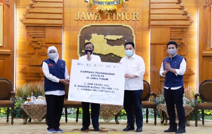Jawa Timur Terima Bantuan Bantuan Tablet Avigan, Masker Bedah, dan APD dari Kementerian BUMN
