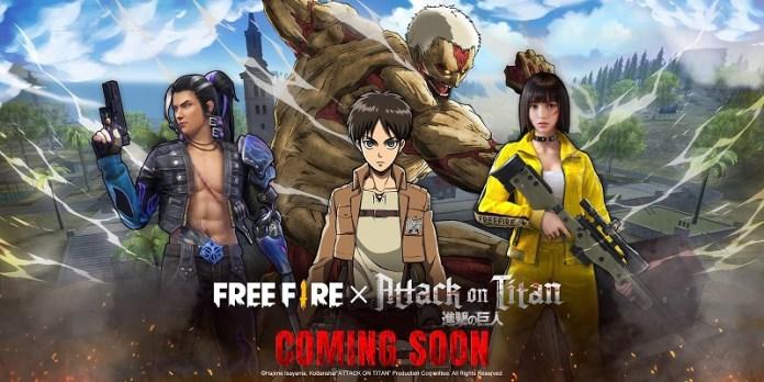 Kolaborasi Free Fire dengan Attack on Titan bikin Pemain Bisa Pakai Kostum Spesial Survey Corps dan Jadi Monster Titan