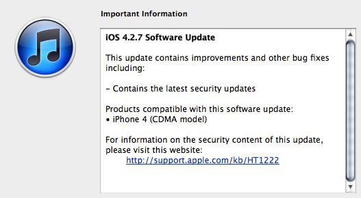 iPhone 4 CDMA (Verizon) iOS 4.27 Update