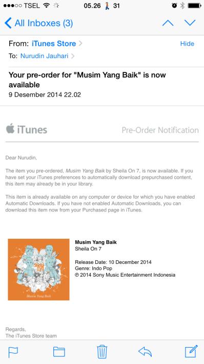 Email dari iTunes kalau Album Musim Yang Baik siap Download