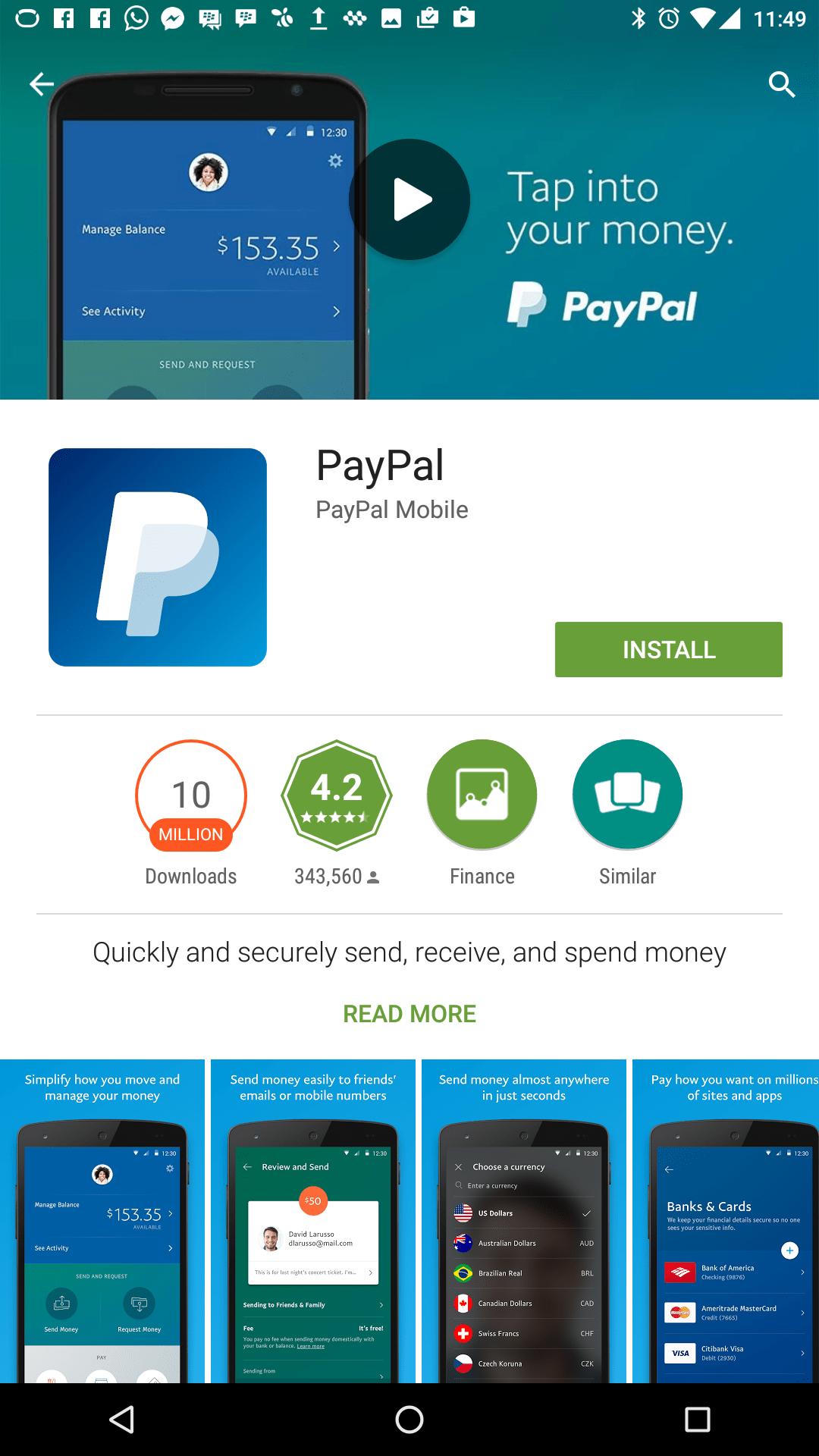 Aplikasi PayPal di LG Google Nexus 5