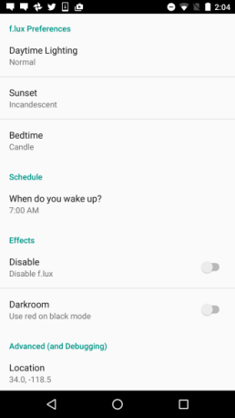 UI Setting f.lux Android