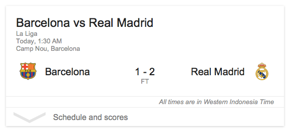 Barcelona 1 - Real Madrid 2