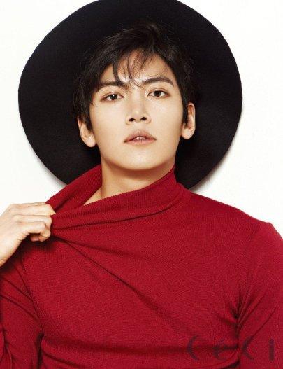 Ji Chang Wook wearing a red shirt and a hat