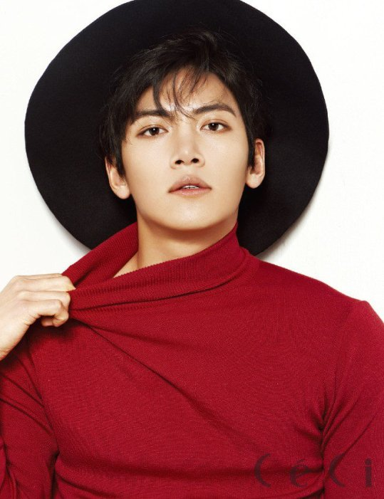 Ji Chang Wook wearing a red shirt and a hat
