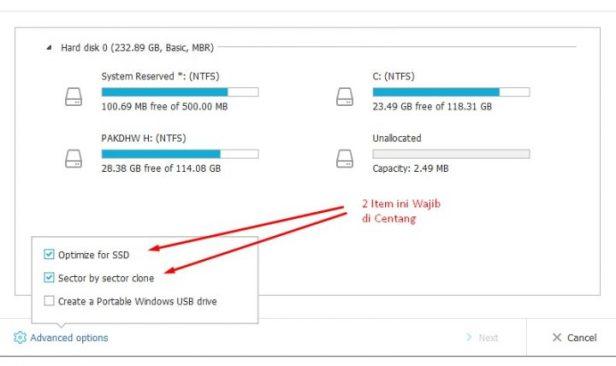 Kemudian Untuk SSD 2 Item Ini Wajib Di Centang Di EaseUS Todo Backup