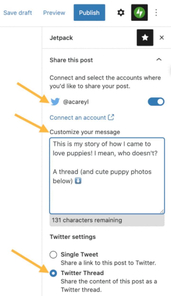 Pengaturan Tweetstorm Di WordPress
