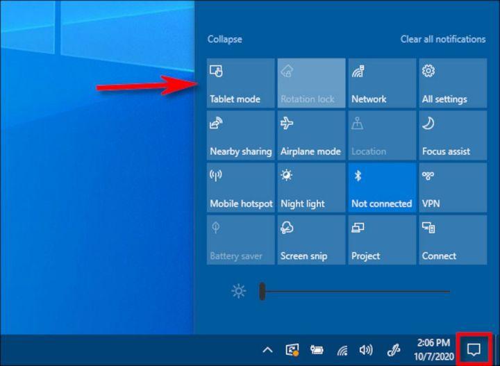 Mengakses Action Center Windows 10