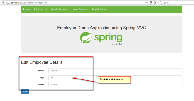 updating employees spring mvc