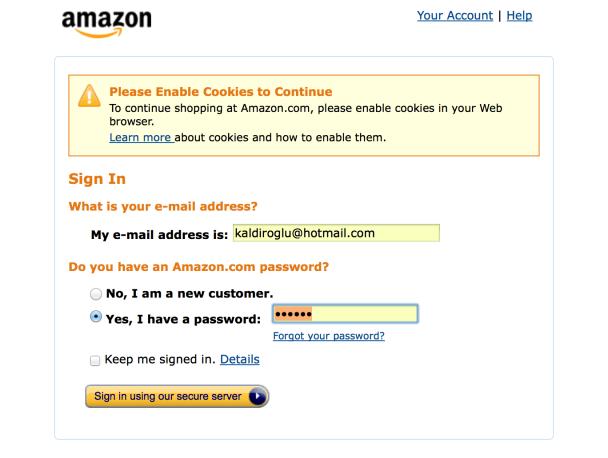 Amazon.com'un, cookileri engelleyen taraycıya cevabı.