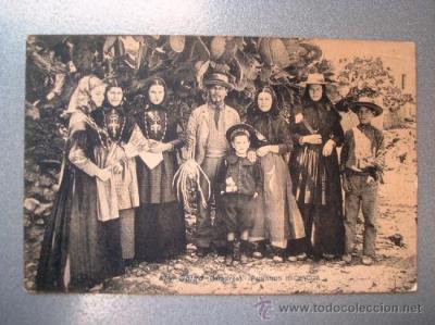 Postal antigua Ibiza Paisanos Ibicencos. Circulada el 05-01-1909. Lacoste 14