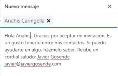 mensaje de gracias contacto linkedin