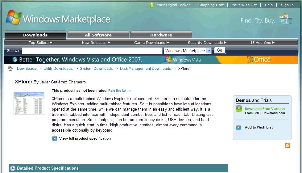 XPlorer en Windows Marketplace