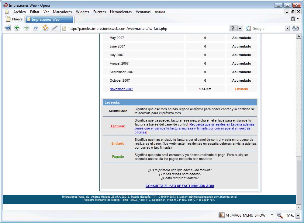No uses Impresiones Web