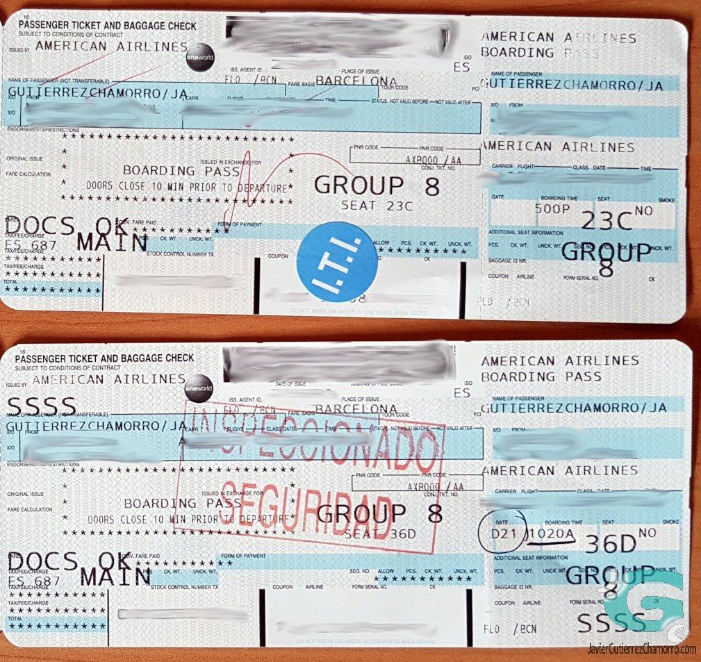 Inscripciones en los billetes de avión