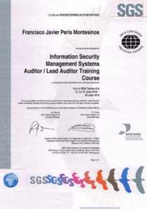 Javier Peris is ISO 27000 Lead Auditor by SGS from 2009