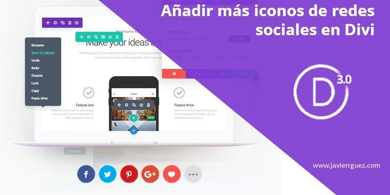 Añadir más iconos de redes sociales en Divi