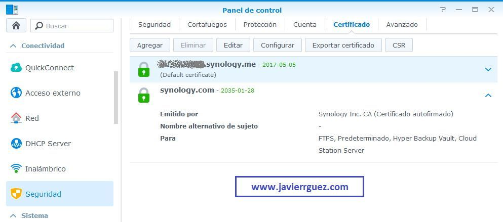 Configura tu NAS Synology con HTTPS y Lets Encrypt