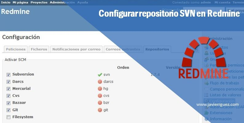 Configurar repositorio SVN en Redmine