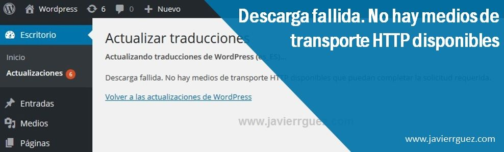Descarga fallida No hay medios de transporte HTTP disponibles