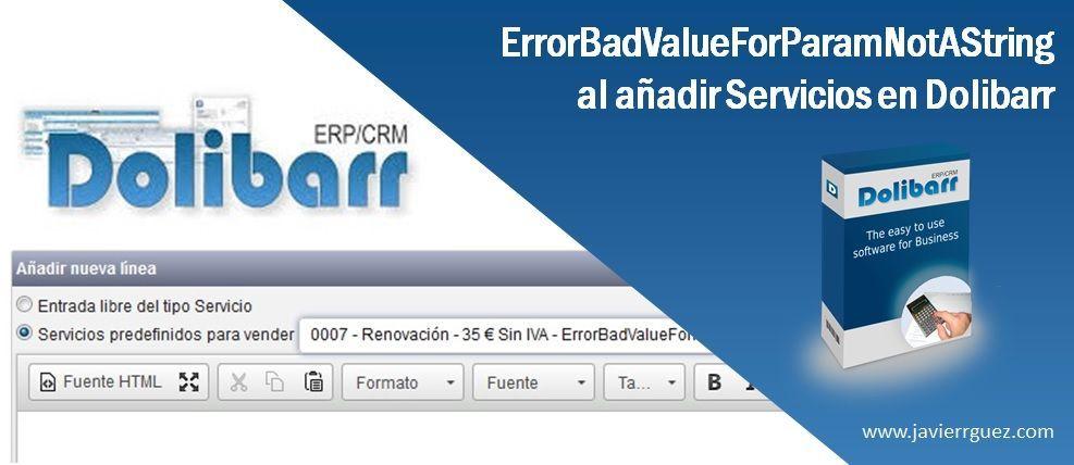 ErrorBadValueForParamNotAString al añadir servicios en Dolibarr
