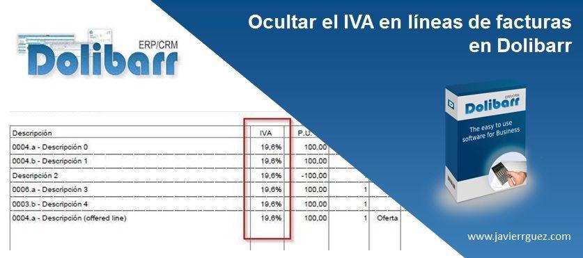 Ocultar el IVA en las líneas de facturas en Dolibarr