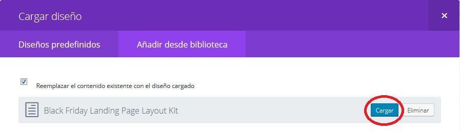 Seleccionar diseño a cargar desde biblioteca Divi