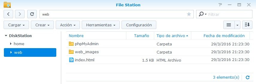 Synology Servidor Web 14 File Station