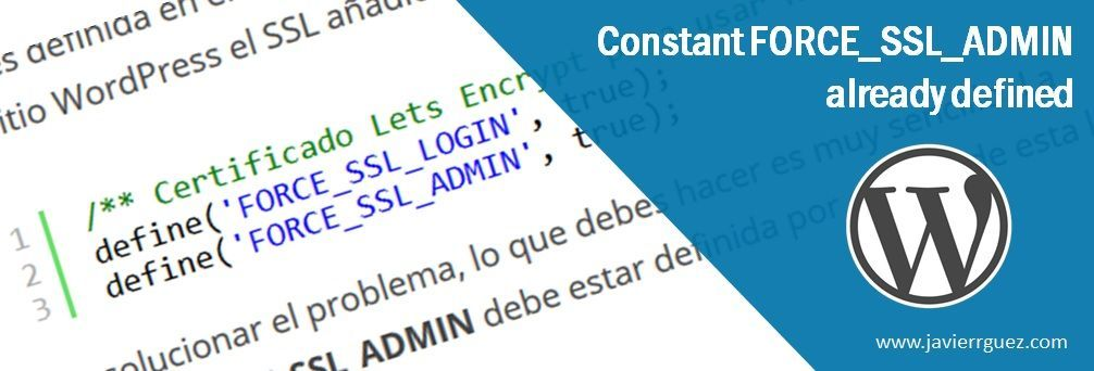 Constant FORCE_SSL_ADMIN already defined