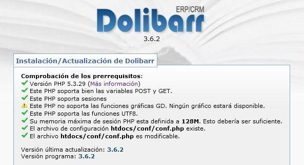 Dolibarr – Este PHP no soporta las funciones gráficas GD. Ningún gráfico estará disponible.