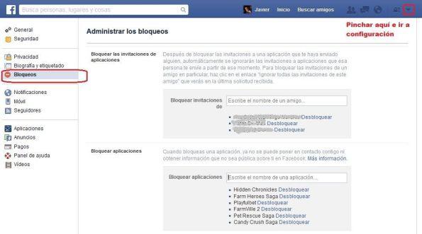 Bloqueo de aplicaciones/juegos en Facebook