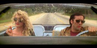 """Nicolas Cage y Laura Dern en """"Corazón Salvaje"""" a bordo de su Thunderbird. """"Corazón Salvaje"""" (""""Wild At Heart"""", 1990)"""