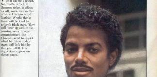 Curioso reportaje de una revista de agostode 1985 con una recreación de cómo creían que podría ser el aspecto que iba a tener Michael Jackson en el año 2000