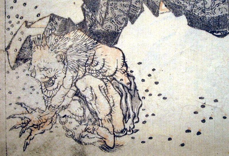 Oni expulsado lanzandole mame (Hokusai)